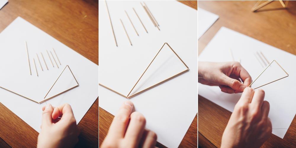 DIY geometrische goldene Himmelis selbermachen Schritt für Schritt 2