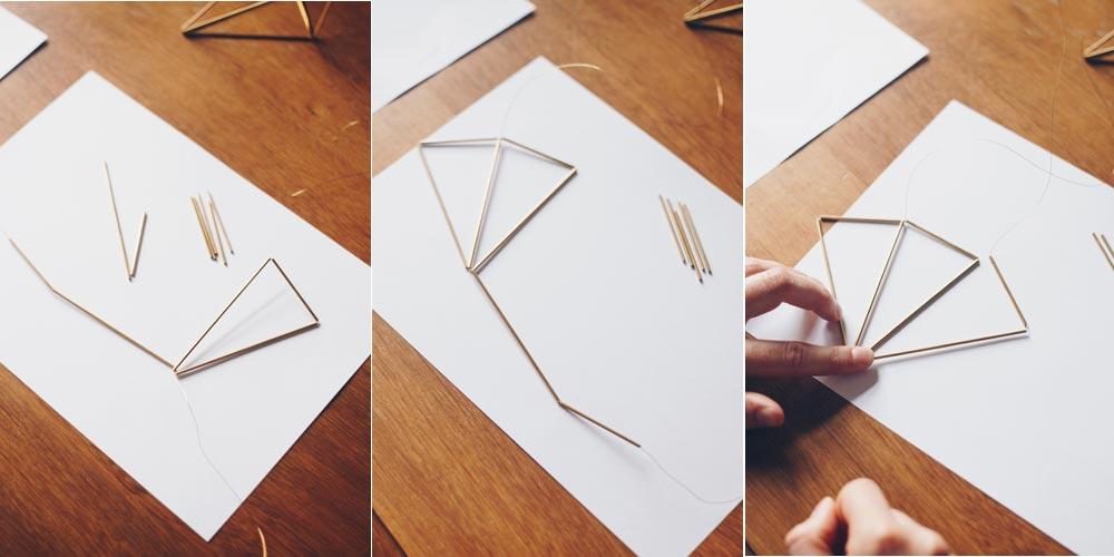 DIY geometrische goldene Himmelis selbermachen Schritt für Schritt 3