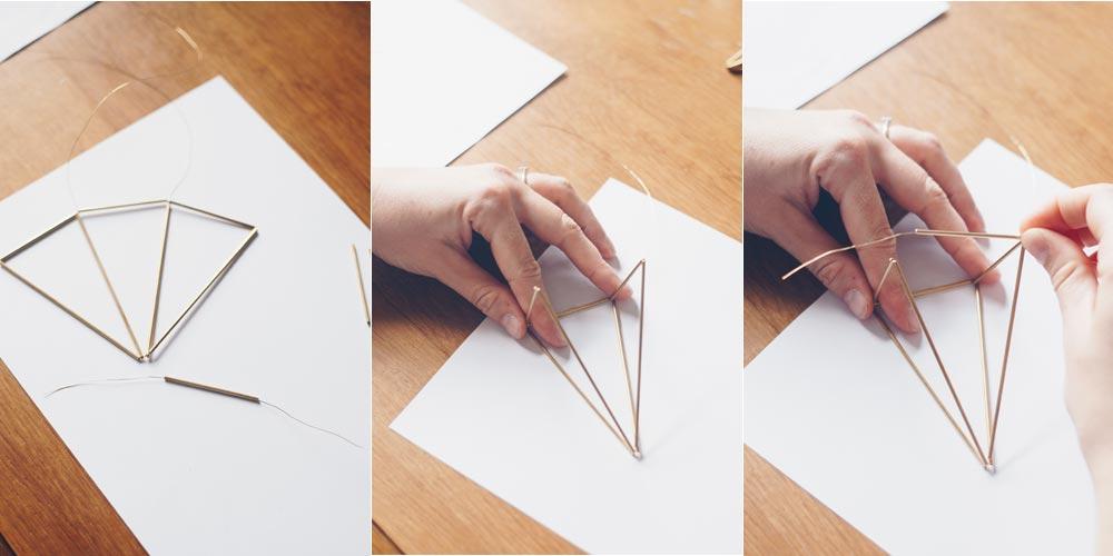 DIY geometrische goldene Himmelis selbermachen Schritt für Schritt 4