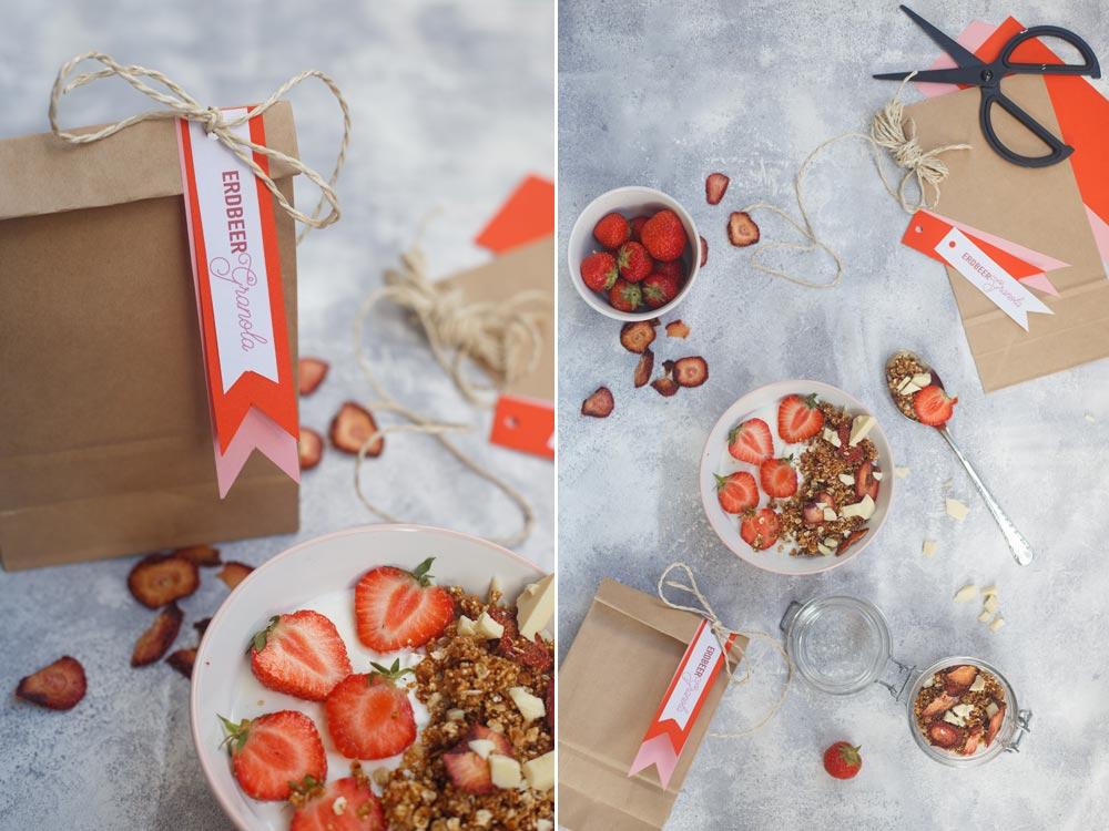 Erdbeer Granola selbermachen - Smoothie Bowl Topping Idee