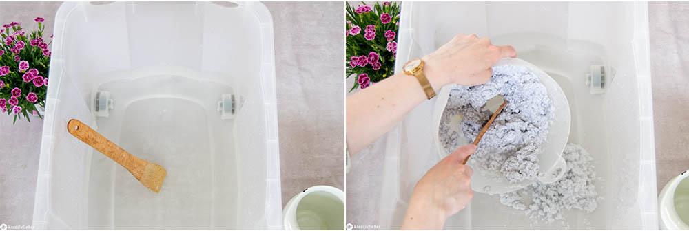 Wasserbad herstellen zum Papier schöpfen