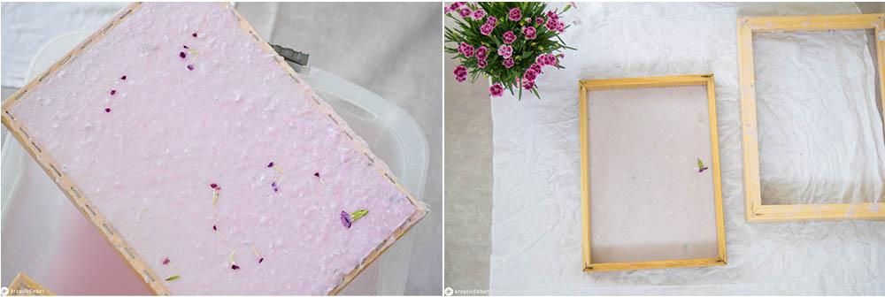 Papier schöpfen mit Blüten Wasser abtropfen