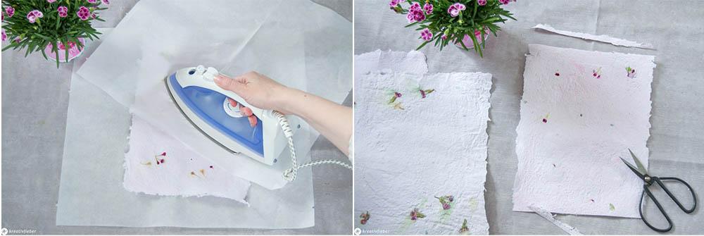 Papier schöpfen und bügeln