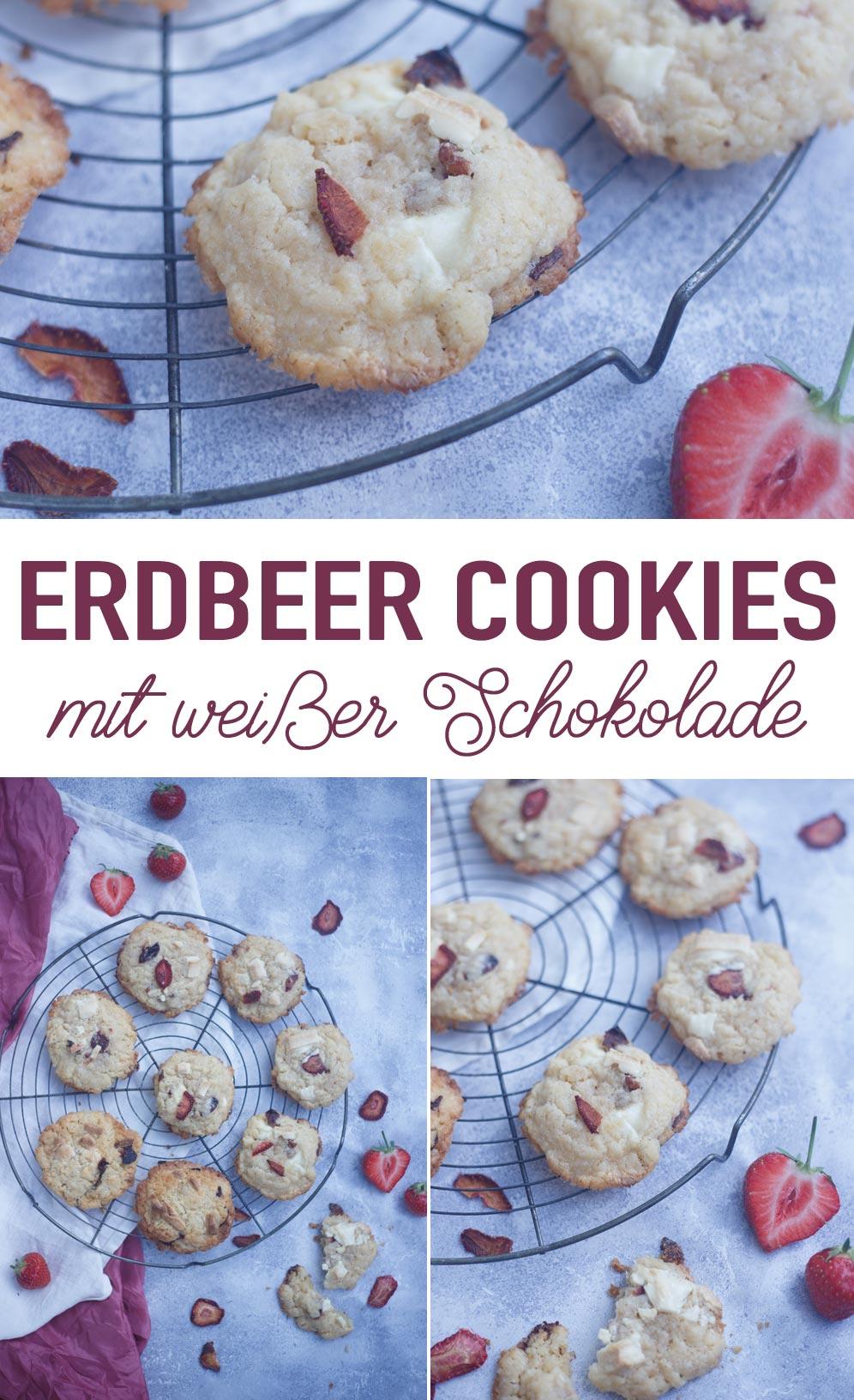 Erdbeer Cookies mit weißer Schokolade und gedörrten Erdbeeren backen Rezeptidee