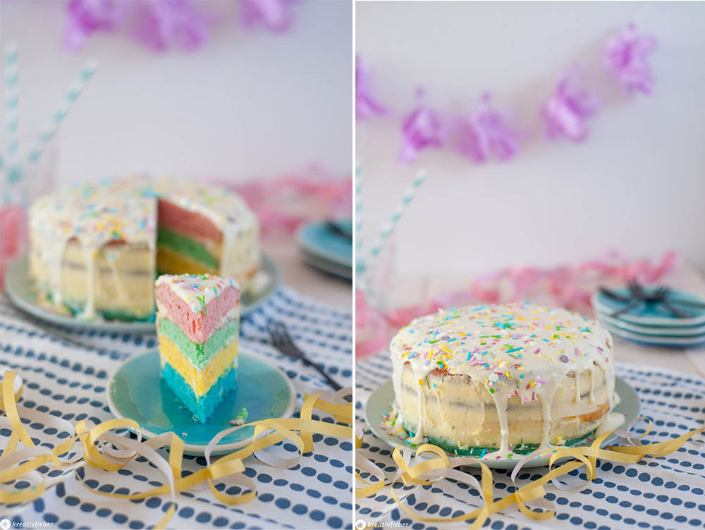 Kindergeburtstag Torte Kuchen Regenbogen