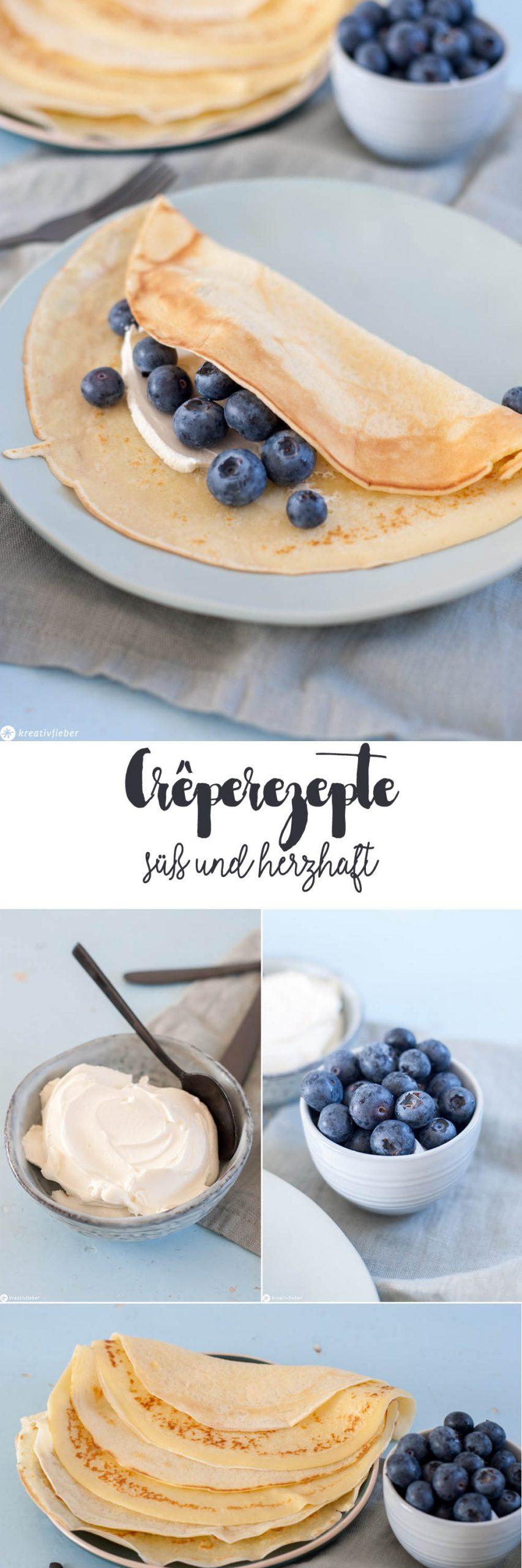 Süße und herzhafte Crepeideen Blaubeeren Mascarpone