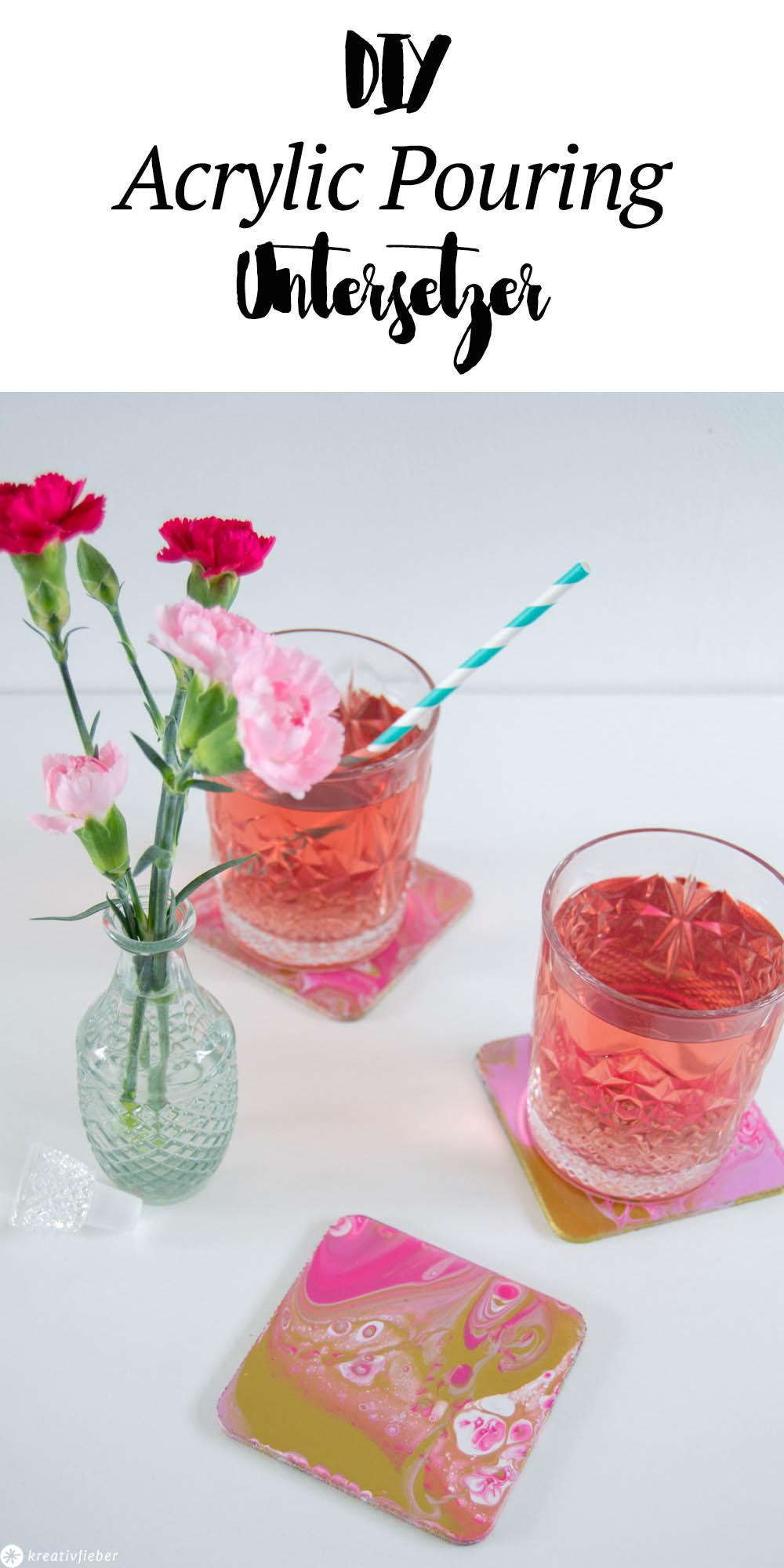 Untersetzer mit Acrylic Pouring verschönern