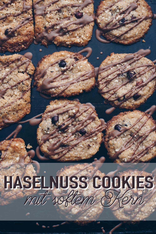 Große Haselnuss Cookies mit softem Kern backen - Rezeptidee außen knackig innen chewy