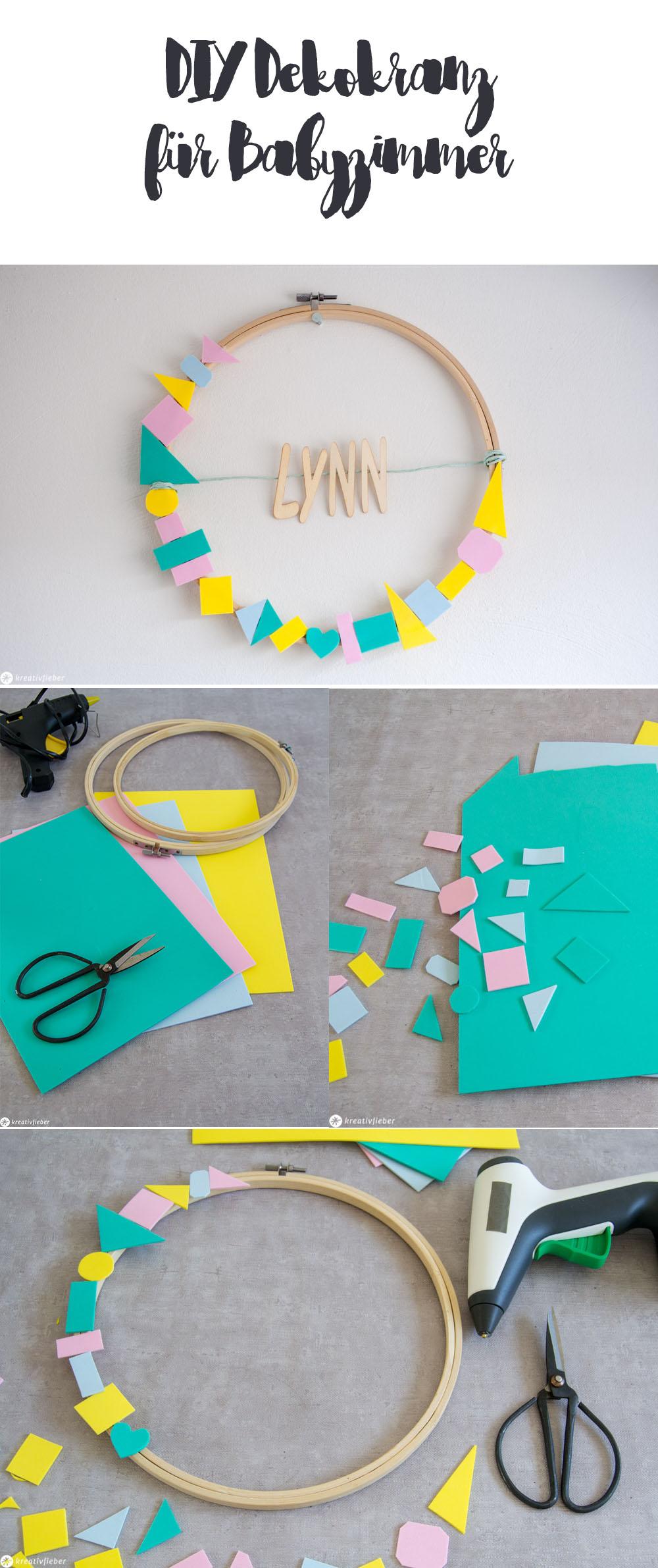 DIY Namenskranz mit Stickrahmen basteln