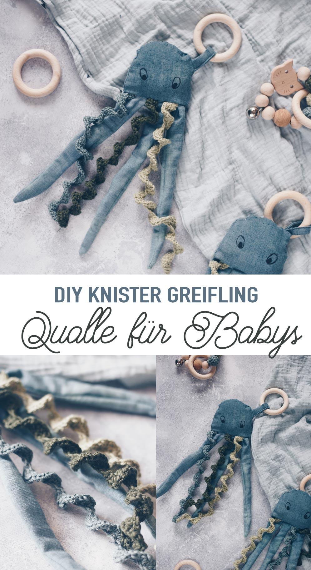 DIY Knister Qualle für Babys selbermachen - Geschenkidee zur Geburt Häkeln und Nähen