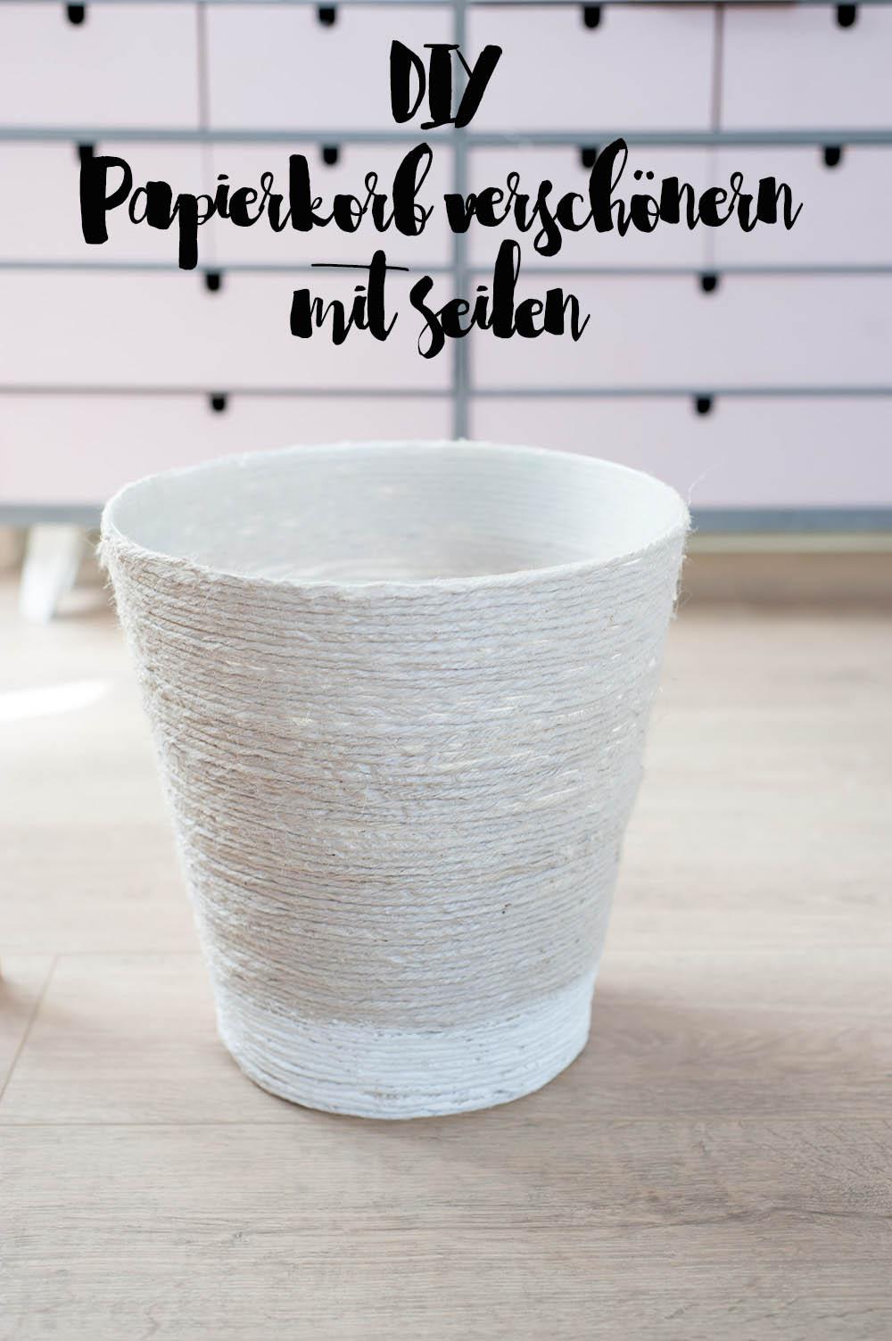 DIY Papierkorb Makeover mit Seilen