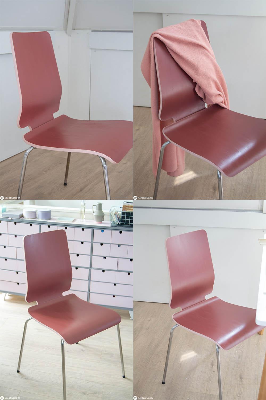 Stuhl rotbraun rosa Trendfarben