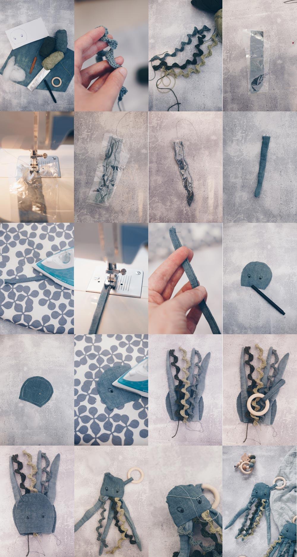 Schritt für Schritt Anleitung DIY Knister Qualle Baby Greifling