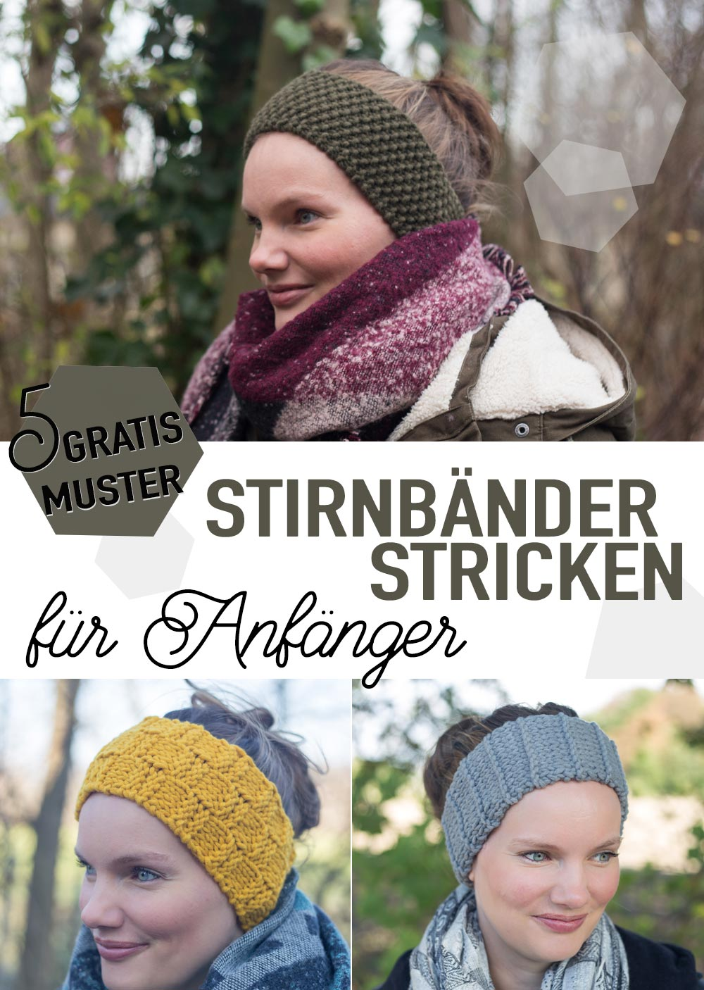 5 gratis Muster - DIY Stirnbänder stricken für Anfänger - Perlmuster, Schachbrett Muster, Streifenmuster und Co.