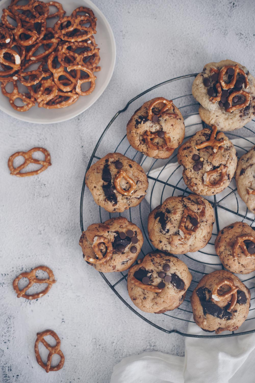 Chocolate Chip Cookies mit Brezeln backen Rezeptidee