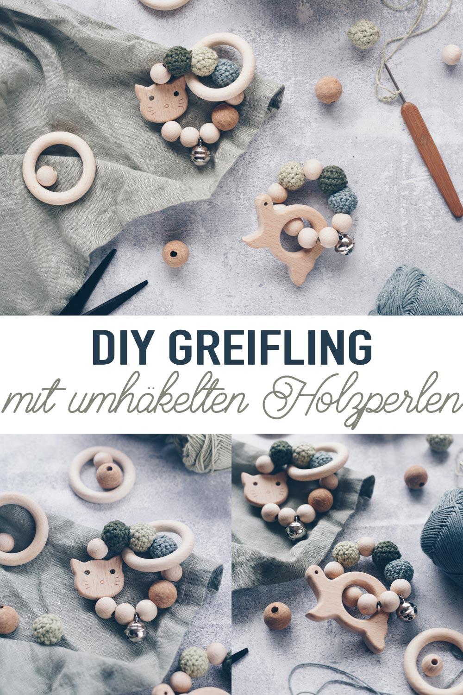 DIY Greifling mit umhäkelten Holzperlen selbermachen - Geschenkidee zur Geburt mit Tieren