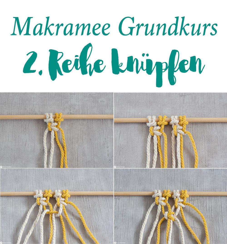 Makramee Grundkurs Anfänger 2 Reihen versetzt knoten