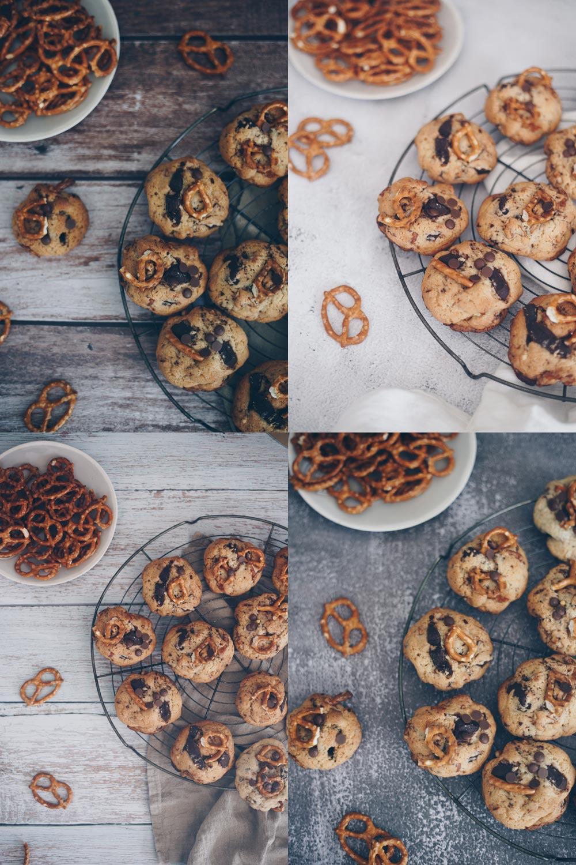 Chocolate Chip Cookies mit Brezeln auf vier verschiedenen Hintergründen