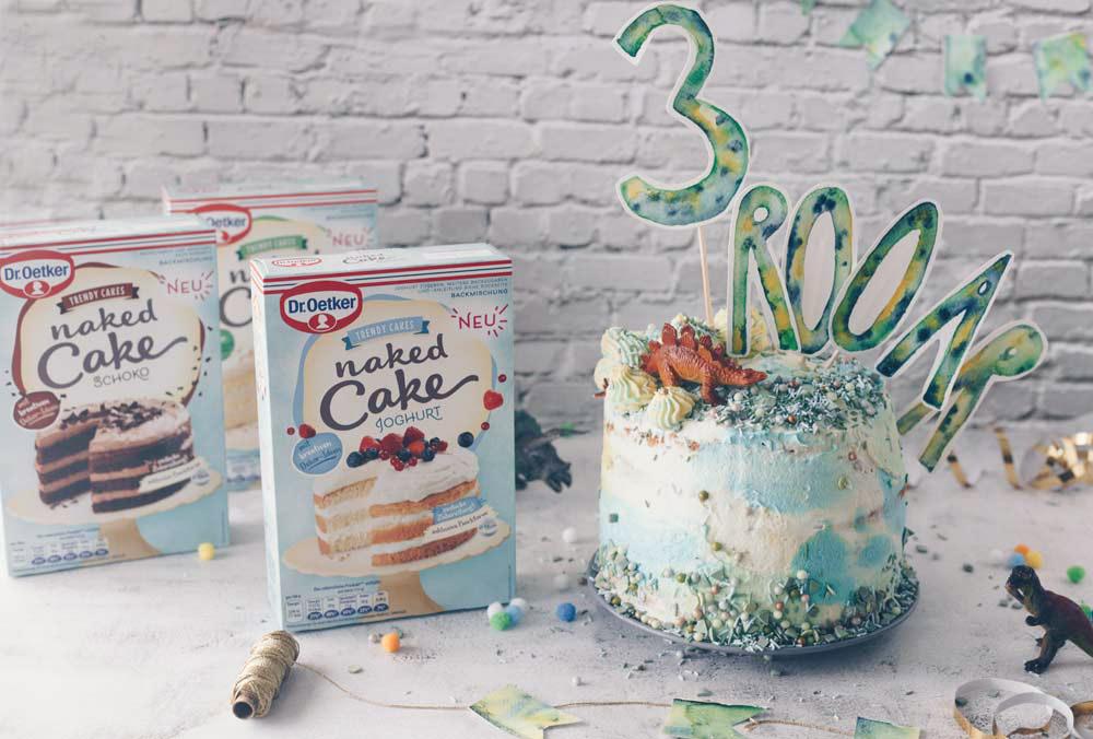Dino Geburtstagstorte selbermachen für Anfänger mit Aquarell Deko - Kindergeburtstag feiern b