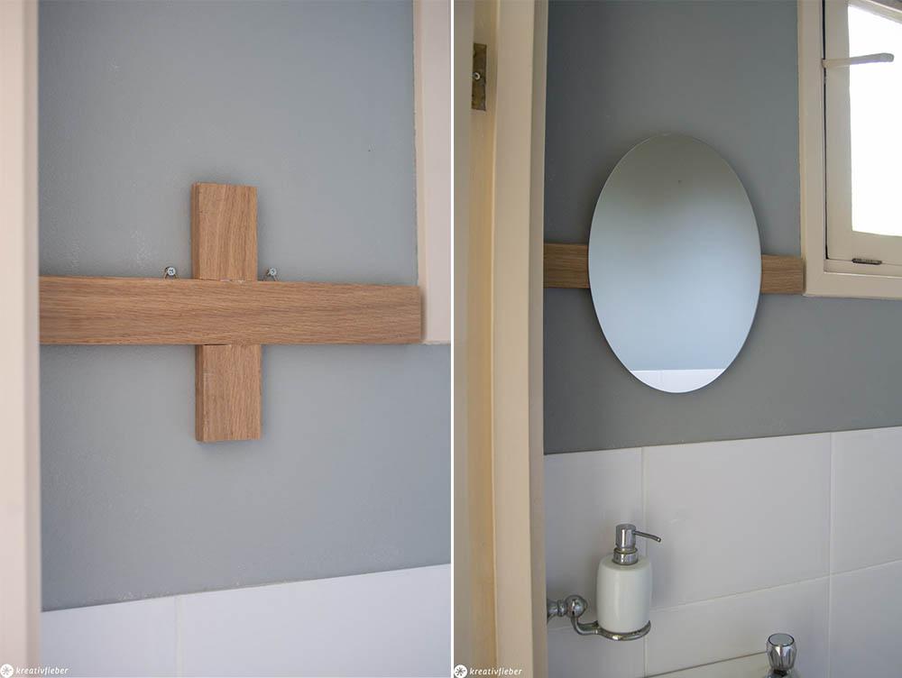 Spiegel aufhängen an Eichenlatte