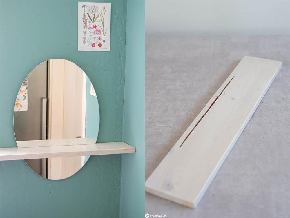 Spiegel im Brett mit Ablagefläche