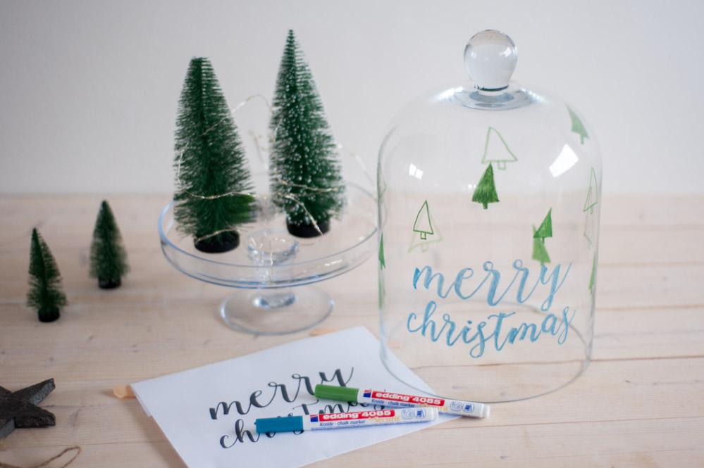 DIY Glasglocke mit Kreidemarkern bemalen