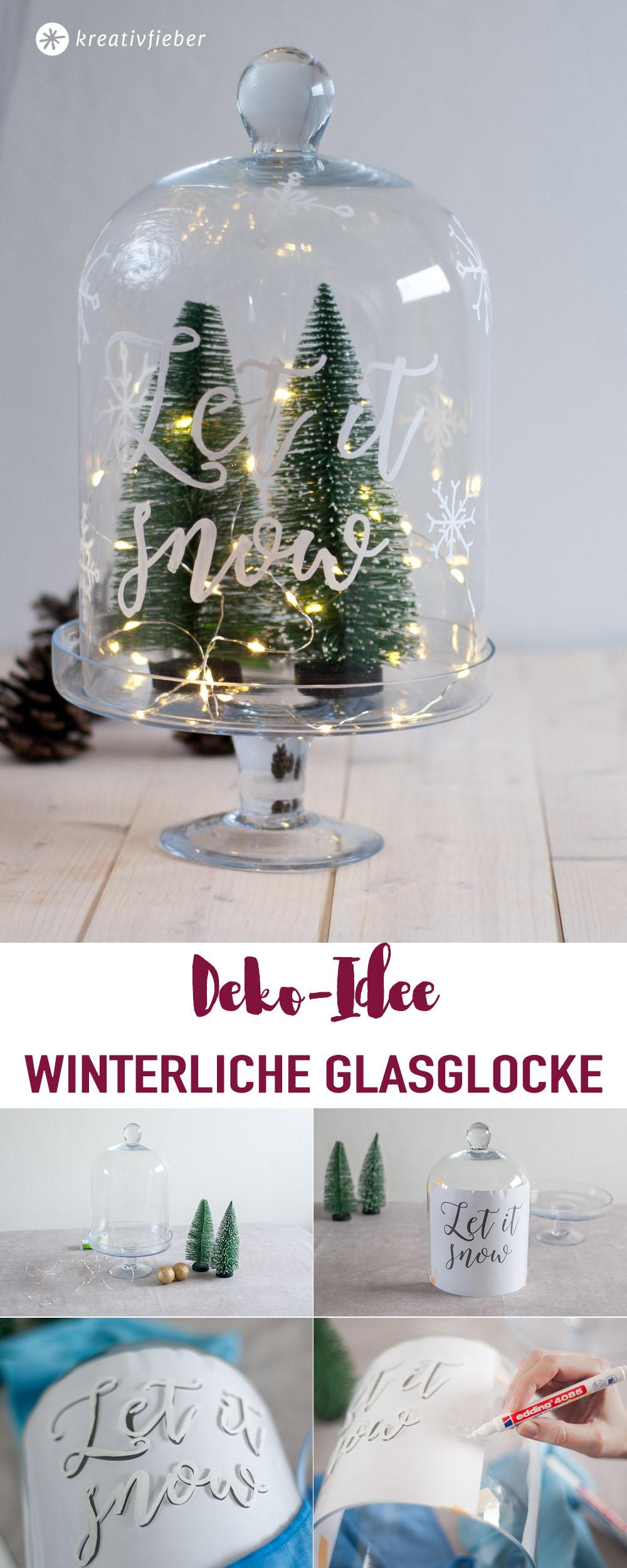 DIY Weihnachtsdeko Winterdeko GLasglocke und Kreidemarkern