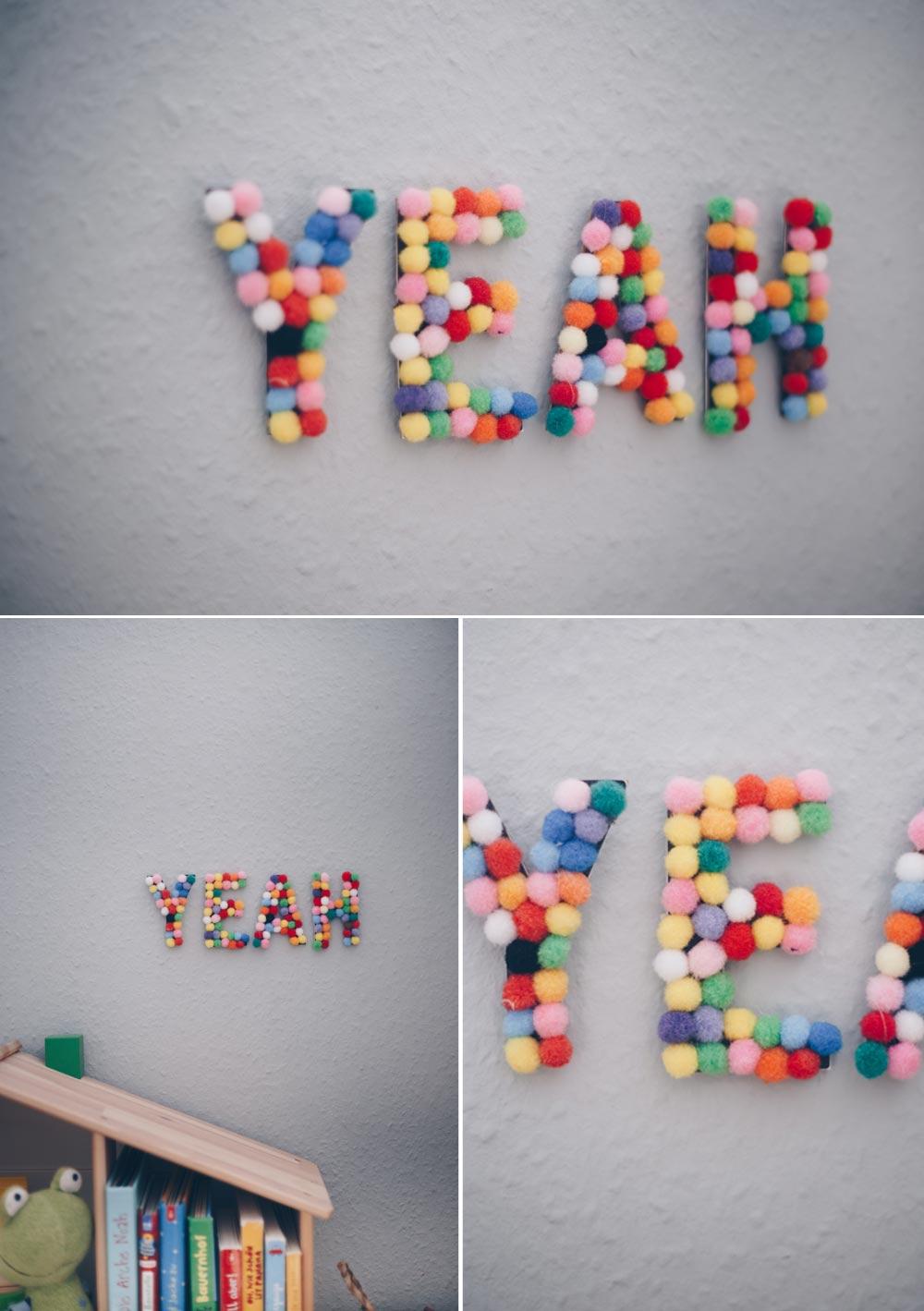 DIY Kinderzimmerdeko Pompom Buchstaben selbermachen DIY Anleitung