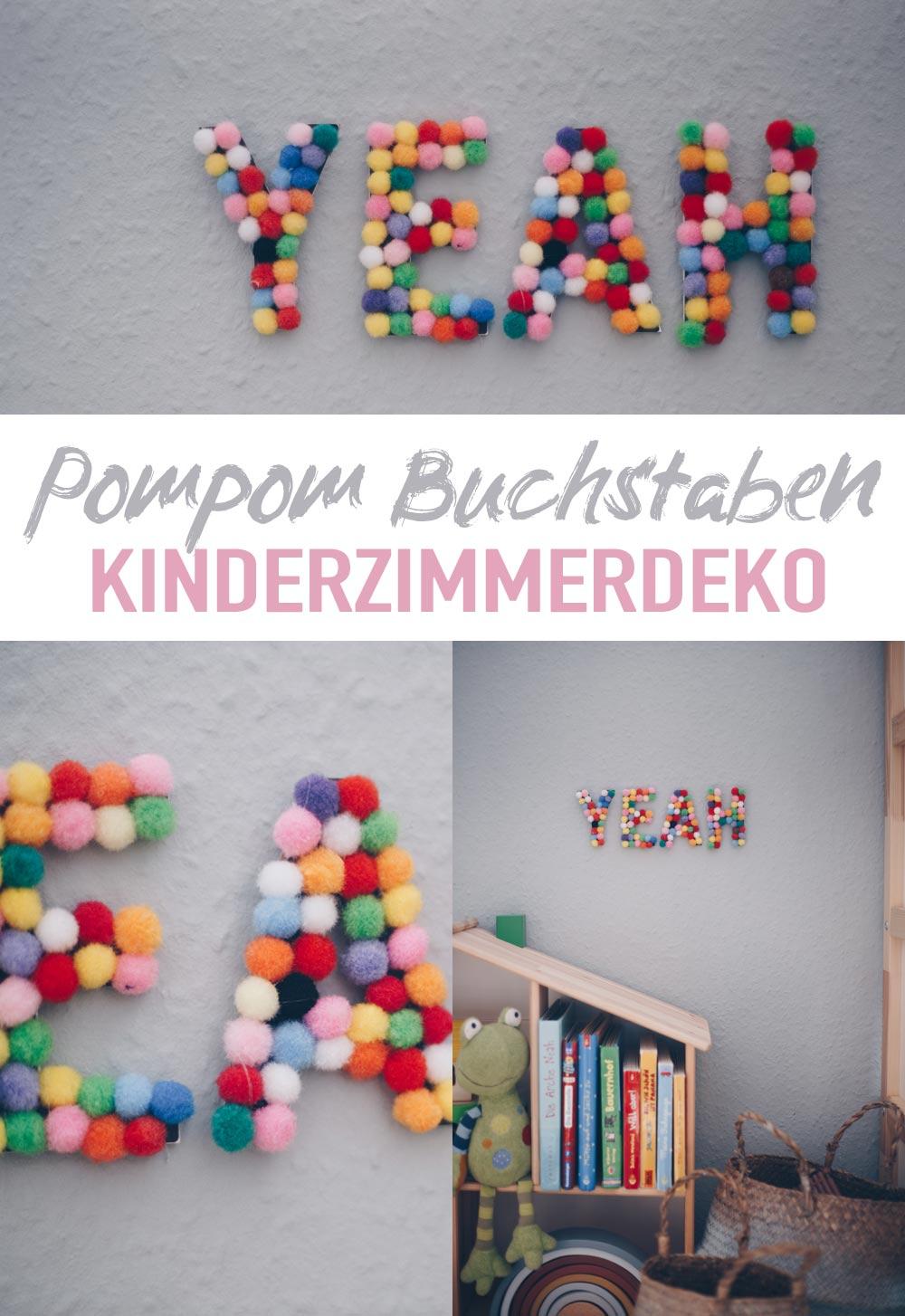 individuelle DIY Kinderzimmerdeko mit Pompom Buchstaben selbermachen