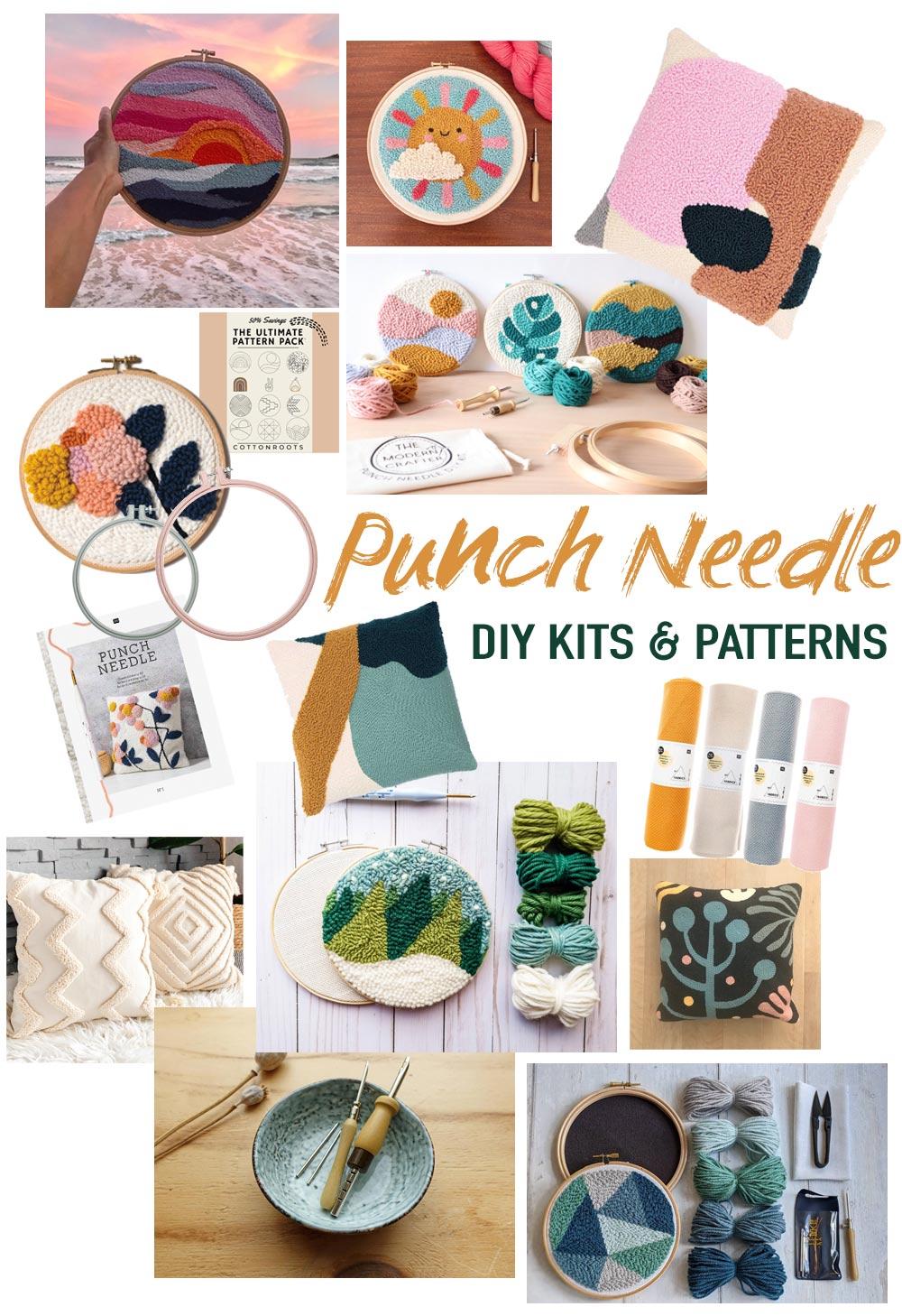 Über 15 moderne Punch Needle DIY Kits und Muster