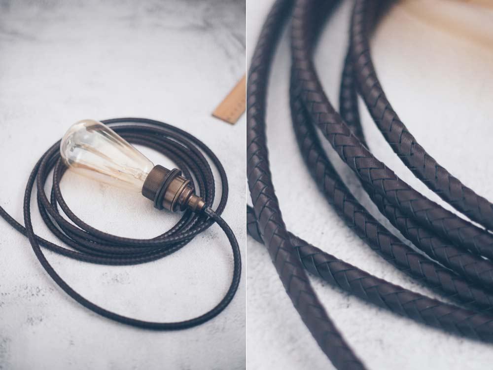 DIY Leuchte mit Lederkabel selberbauen