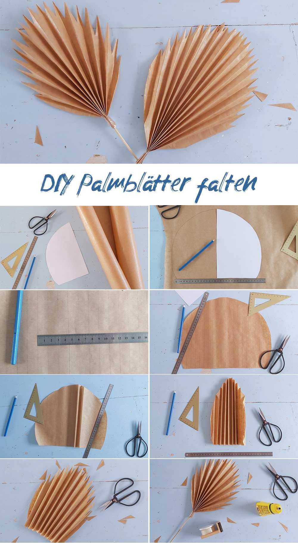 Schritt für Schritt Anleitung Palmblätter
