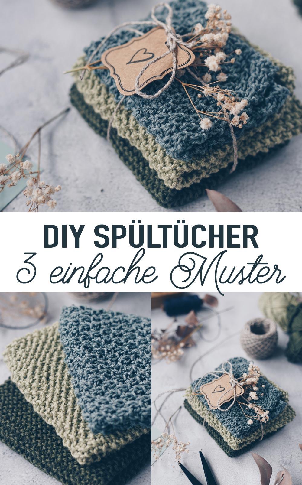 Drei einfache Muster für DIY Spültücher