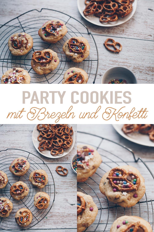 Party Cookies mit Brezeln und Konfetti