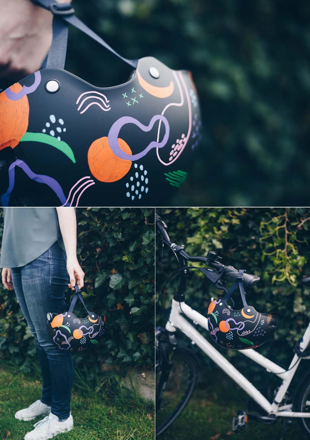 DIY Fahrradhelm verschönern mit grafischem modernen Muster