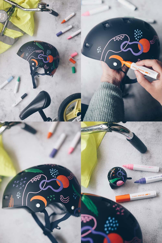 DIY Fahrradhelm verschönern mit modernem grafischen Muster - Upcycling Idee