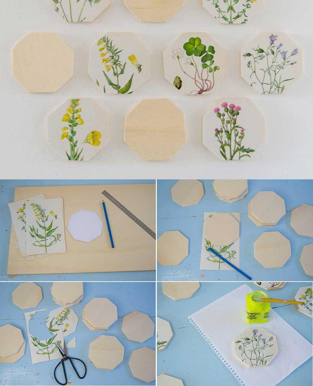 Anleitung Hexagons aus Holz mit Vintage Blumenbildern