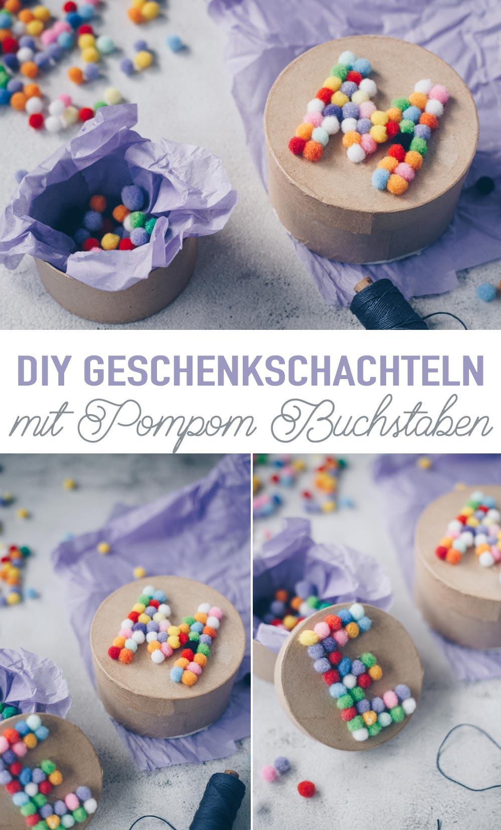 DIY Verpackungsidee - Geschenkschachteln mit Pompom Buchstaben selbermachen Monogram