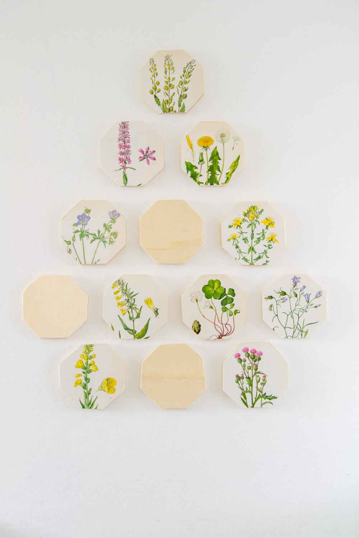 Holz Hexagons mit Blumen