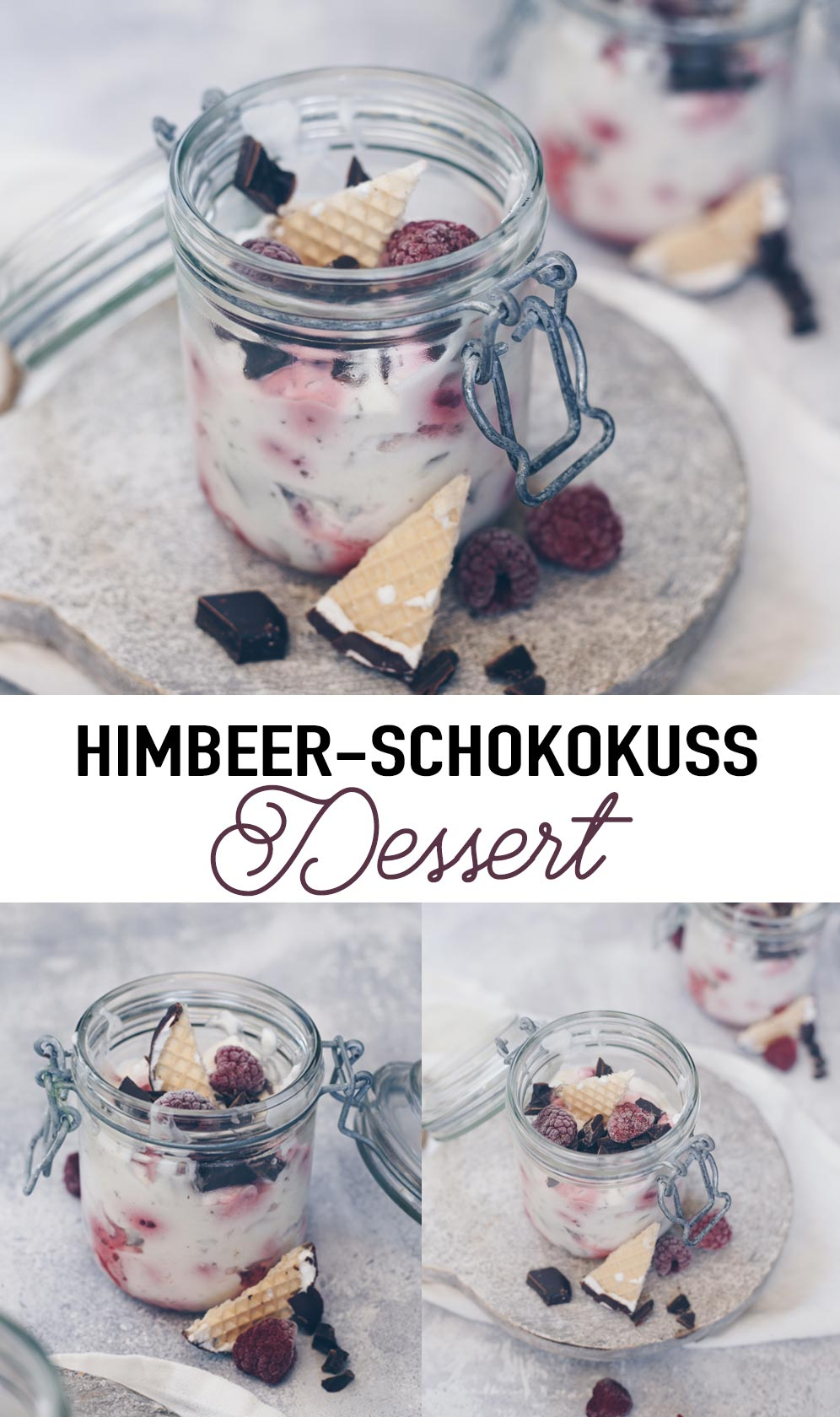 Himbeer-Schokokuss-Dessert im Glas - super schnell Nachtischidee