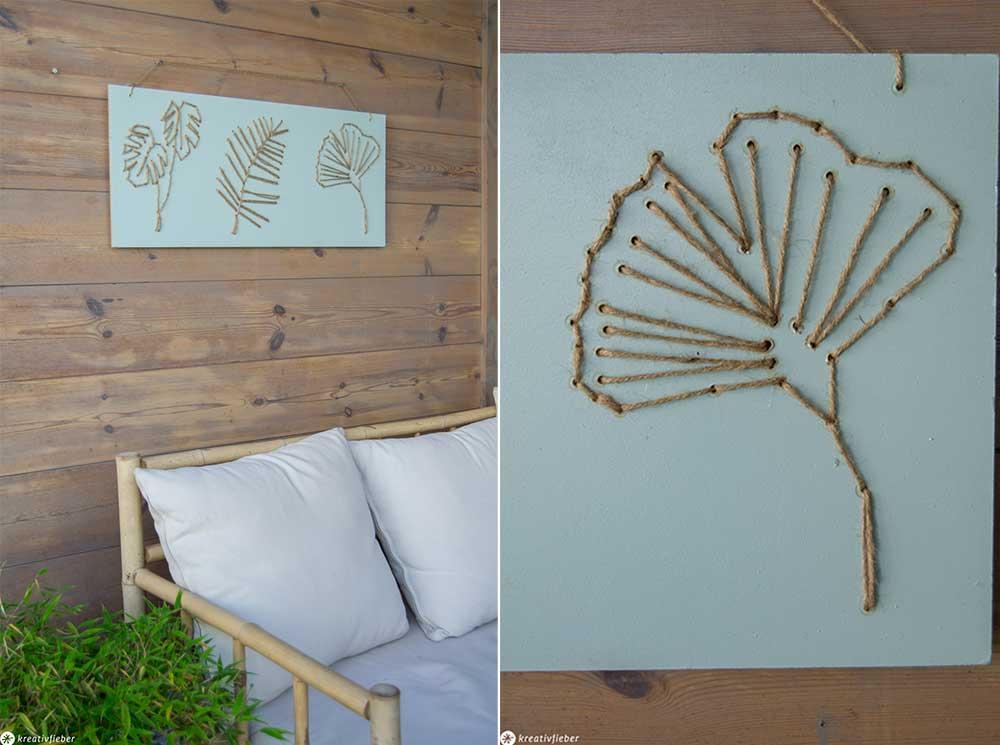 Blätter Holzbild mit Bändern gefädelt