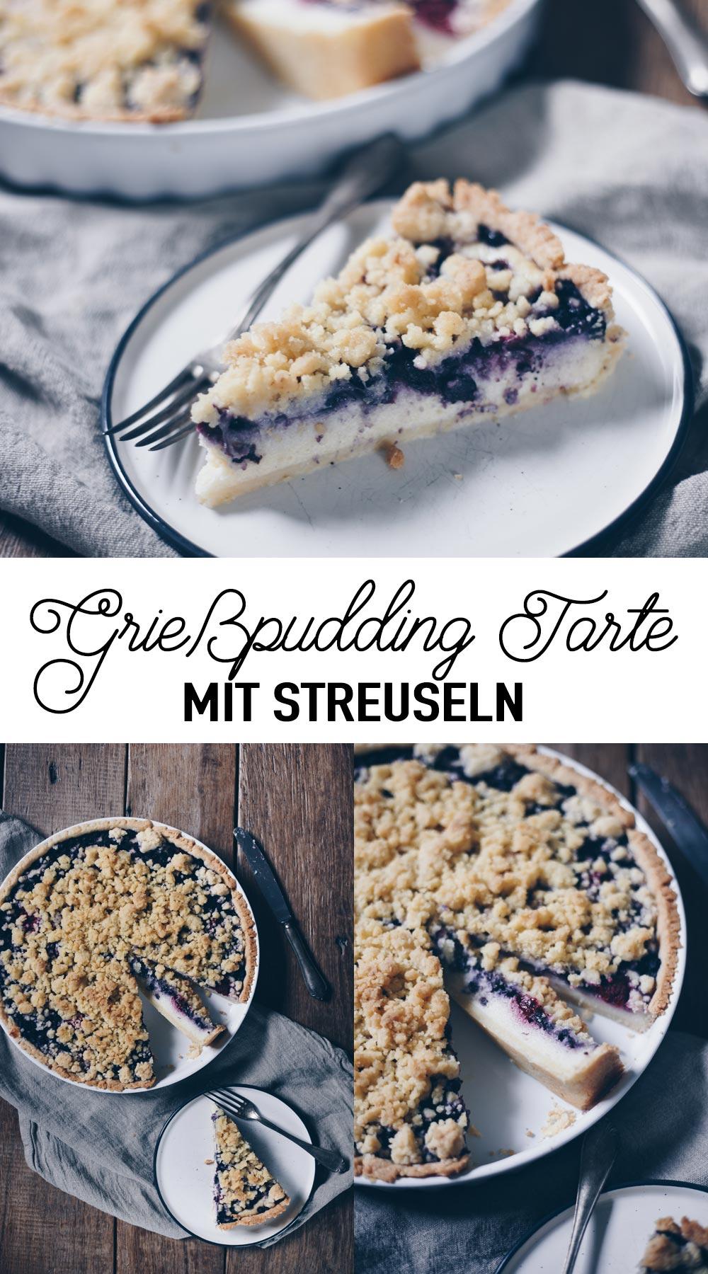 Grießpudding Tarte mit Beeren und Streuseln backen