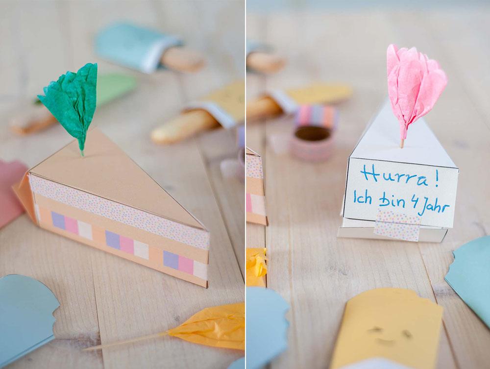 Kuchenstück Verpackungsidee zum Austeilen