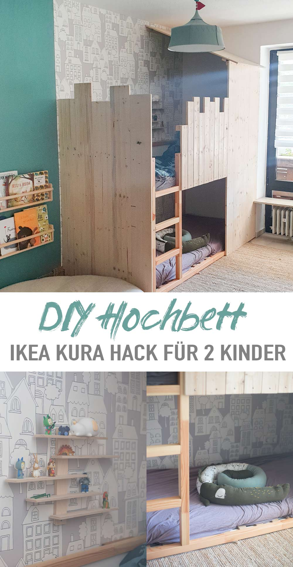 DIY Hochbett für zwei Kinder bauen - IKEA Kura Hack als Etagenbett Ritterburg