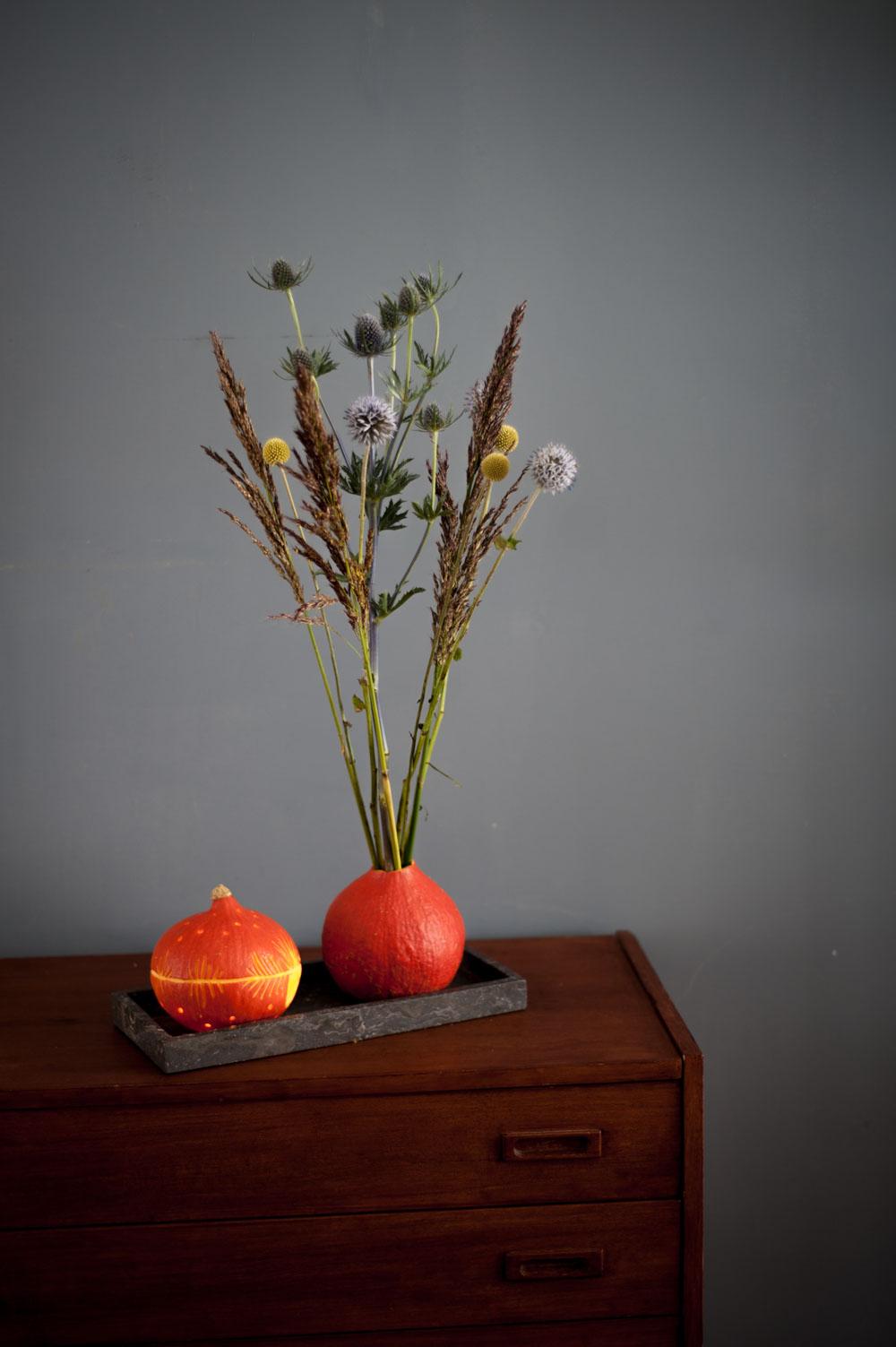 Kürbis als Vase